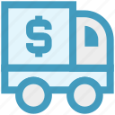 currency, delivery, dollar, dollar truck, money, transportation, van icon