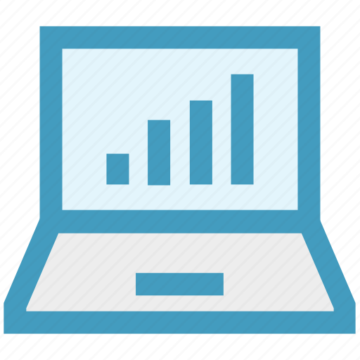 chart, earning, finance, graph, laptop, network, notebook icon