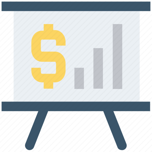 board, chalk board, dollar, money, online, report, sign icon