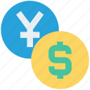 cash, coins, dollar, dollar coin, finance, yen, yen coin icon