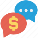 chat, chat bubble, conversation, dollar, sale offer, sign, talk icon