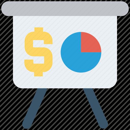 board, chart, diagram, dollar sign, finance, network, pie chart icon