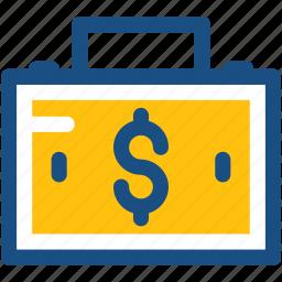 briefcase, cash bag, currency bag, dollar bag, finance, money bag icon