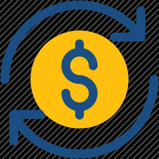 dollars, finance, finance assets, financial, refresh icon