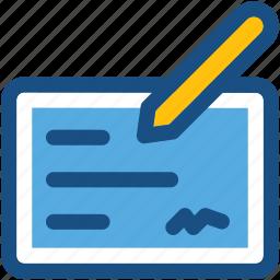 cheque, pencil, receipt, signing, voucher icon