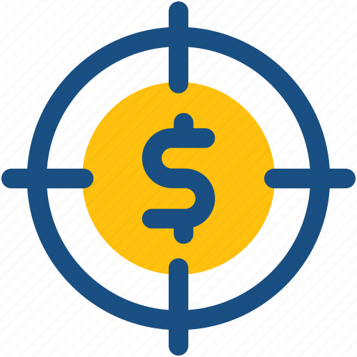 business focus, crosshair, financial target, goal, target icon