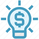 bulb, dollar, energy, generate, idea, light bulb, money icon