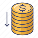 coin, decrease, down, money icon
