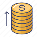 coin, growth, increase, money icon