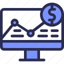 banking, chart, computer, dollar, finance, money, strategy icon