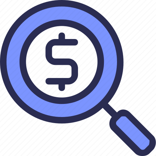 banking, dollar, finance, find, money, search, zoom icon