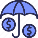 banking, dollar, finance, money, save, secure, umbrella icon