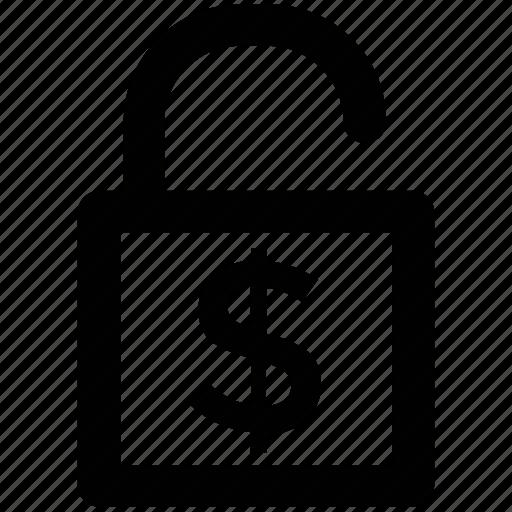 cash safety, lock, money lock, open padlock, privacy, security, unlock icon