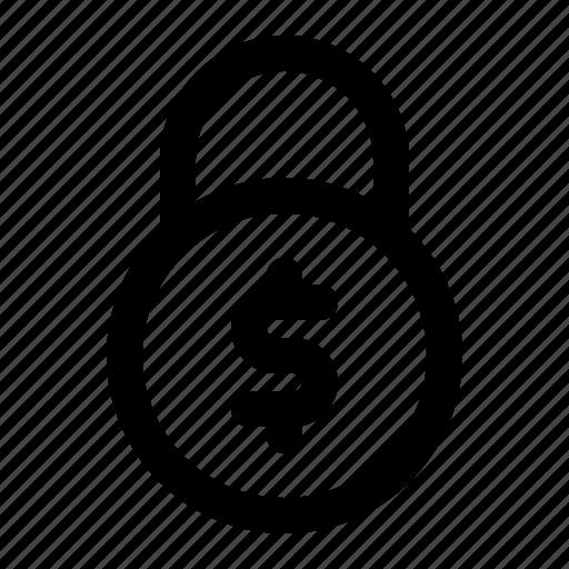 dollar, lock, money, security icon