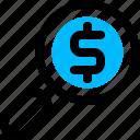 finance, money, search icon