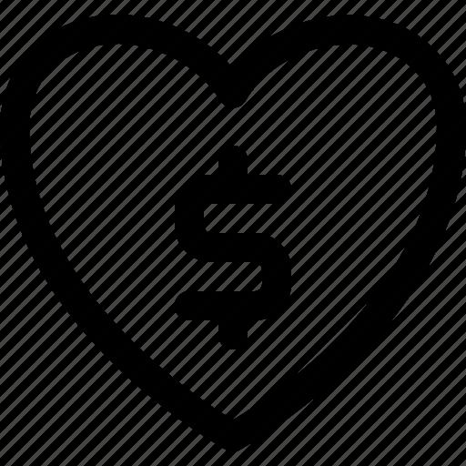 charity, donate, heart, money icon