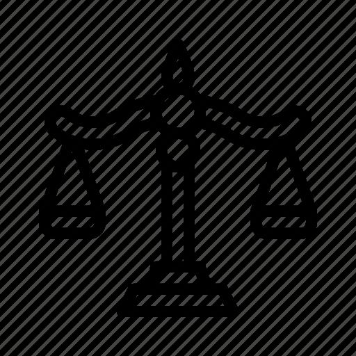 balance, judge, justice, law, scale, trade icon