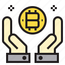 bitcoin, hand, two icon
