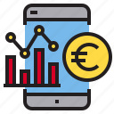 coin, euro, graph, mobile icon
