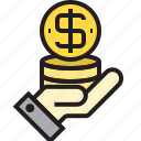 coin, hand, stack icon