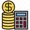 2, calculator, coin, us icon