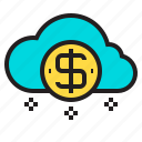 cloud, coin, us icon