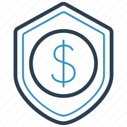 financial, protection, shield icon