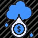 cloud, profit, money, rain, raining