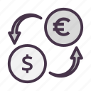currency exchange, dollar, exchange, finance, money, remittance, transaction icon