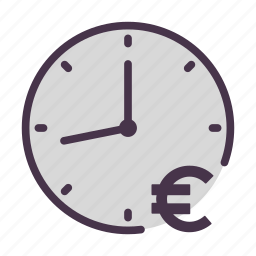 clock, euro, time, time is money icon