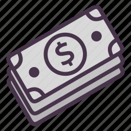 bills, cash, dollar, finance, financial, money icon