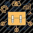 diversification, finance, money, suitcase