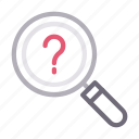 faq, help, magnifier, question, search icon