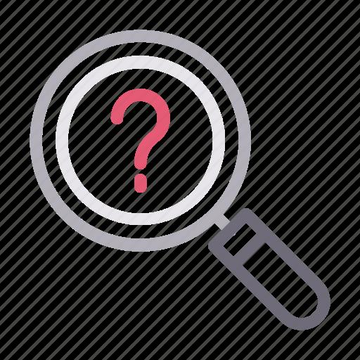 faq, help, magnifier, question, search icon