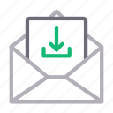 download, email, envelope, message, open icon