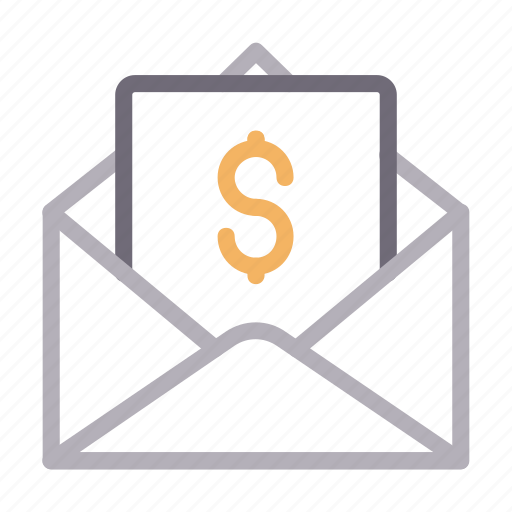 dollar, email, envelope, message, open icon