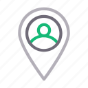 location, map, pin, profile, user icon