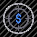 dollar, focus, money, sign, target icon
