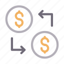 dollar, transfer, currency, exchange, money icon