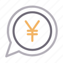 bubble, currency, dialog, finance, yen icon