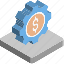 banking, cog, cogwheels, dollar, investment plan icon