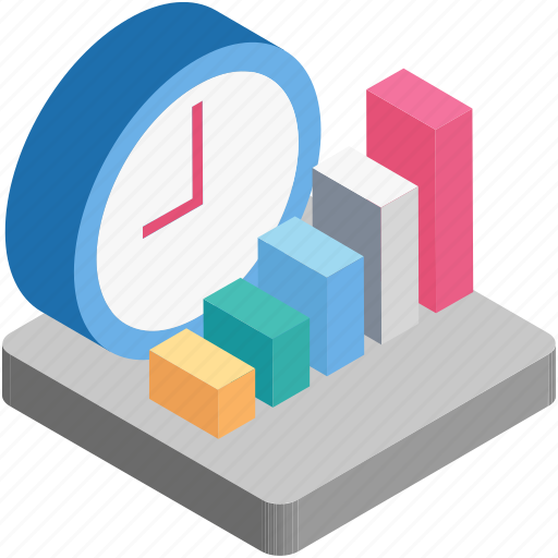 bars, business time, graph, investment time, time icon