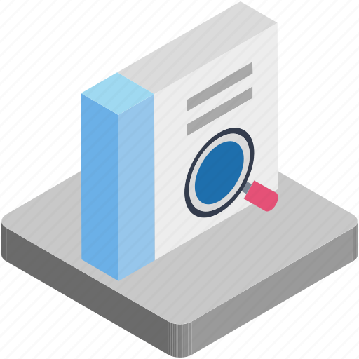 book, directory, magnifying, search book icon