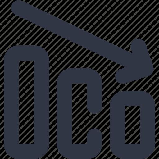 arrow, chart, data, diagram, down icon