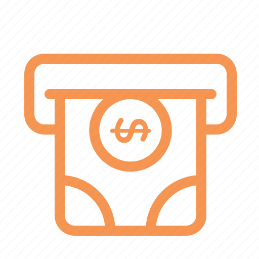 atm, finance, line, money icon