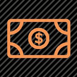 dollar, finance, line, money icon