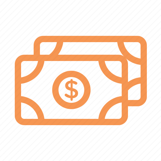 dollar, finance, line, money icon