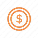 coin, dollar, finance, line, money icon