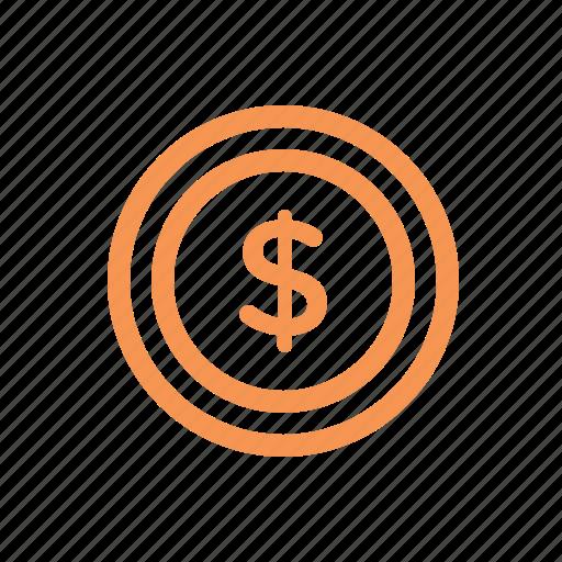 coin, dollar, finance, line, money icon