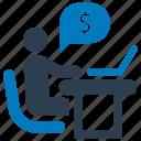 banking, business, desk, office desk icon